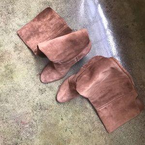 Michael Kors Cognac Suede Over the Knee Boots Sz10